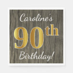 [ Thumbnail: Faux Wood, Faux Gold 90th Birthday + Custom Name Napkin ]