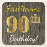 [ Thumbnail: Faux Wood, Faux Gold 90th Birthday + Custom Name Paper Coaster ]