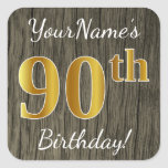 [ Thumbnail: Faux Wood, Faux Gold 90th Birthday + Custom Name Sticker ]