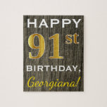 [ Thumbnail: Faux Wood, Faux Gold 91st Birthday + Custom Name Jigsaw Puzzle ]