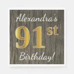 [ Thumbnail: Faux Wood, Faux Gold 91st Birthday + Custom Name Paper Napkin ]