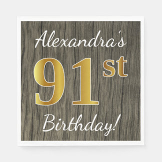 Faux Wood, Faux Gold 91st Birthday + Custom Name Paper Napkin