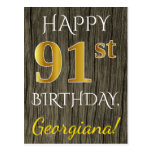 [ Thumbnail: Faux Wood, Faux Gold 91st Birthday + Custom Name Postcard ]