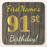 [ Thumbnail: Faux Wood, Faux Gold 91st Birthday + Custom Name Paper Coaster ]