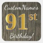 [ Thumbnail: Faux Wood, Faux Gold 91st Birthday + Custom Name Sticker ]