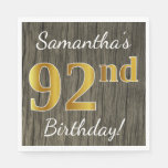 [ Thumbnail: Faux Wood, Faux Gold 92nd Birthday + Custom Name Paper Napkin ]