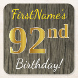 [ Thumbnail: Faux Wood, Faux Gold 92nd Birthday + Custom Name Paper Coaster ]