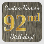 [ Thumbnail: Faux Wood, Faux Gold 92nd Birthday + Custom Name Sticker ]