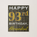[ Thumbnail: Faux Wood, Faux Gold 93rd Birthday + Custom Name Jigsaw Puzzle ]