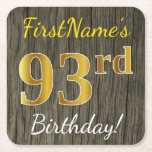 [ Thumbnail: Faux Wood, Faux Gold 93rd Birthday + Custom Name Paper Coaster ]