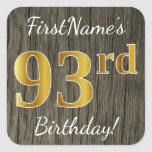 [ Thumbnail: Faux Wood, Faux Gold 93rd Birthday + Custom Name Sticker ]