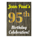 [ Thumbnail: Faux Wood, Faux Gold 95th Birthday Celebration Invitation ]