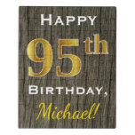 [ Thumbnail: Faux Wood, Faux Gold 95th Birthday + Custom Name Jigsaw Puzzle ]