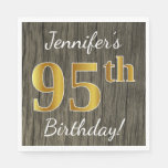 [ Thumbnail: Faux Wood, Faux Gold 95th Birthday + Custom Name Paper Napkin ]
