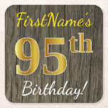 [ Thumbnail: Faux Wood, Faux Gold 95th Birthday + Custom Name Paper Coaster ]