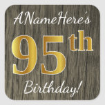 [ Thumbnail: Faux Wood, Faux Gold 95th Birthday + Custom Name Sticker ]