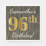 [ Thumbnail: Faux Wood, Faux Gold 96th Birthday + Custom Name Paper Napkin ]