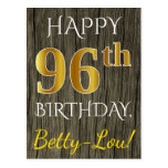 [ Thumbnail: Faux Wood, Faux Gold 96th Birthday + Custom Name Postcard ]