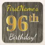 [ Thumbnail: Faux Wood, Faux Gold 96th Birthday + Custom Name Paper Coaster ]