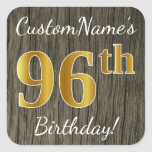 [ Thumbnail: Faux Wood, Faux Gold 96th Birthday + Custom Name Sticker ]