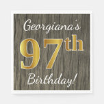 [ Thumbnail: Faux Wood, Faux Gold 97th Birthday + Custom Name Napkin ]