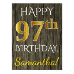 [ Thumbnail: Faux Wood, Faux Gold 97th Birthday + Custom Name Postcard ]