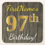[ Thumbnail: Faux Wood, Faux Gold 97th Birthday + Custom Name Paper Coaster ]
