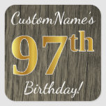 [ Thumbnail: Faux Wood, Faux Gold 97th Birthday + Custom Name Sticker ]