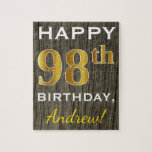 "Faux Wood, Faux Gold 98th Birthday   Custom Name Jigsaw Puzzle<br><div class=""desc"">This simple puzzle design features the message &quot;Happy 98th Birthday&quot;,  with the &quot;98th&quot; having a faux gold-like appearance. It also features a custom name,  and a faux wood appearance background. It could be given to somebody who is celebrating their ninety eighth birthday.</div>"