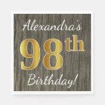 [ Thumbnail: Faux Wood, Faux Gold 98th Birthday + Custom Name Napkin ]