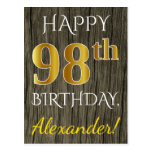 [ Thumbnail: Faux Wood, Faux Gold 98th Birthday + Custom Name Postcard ]