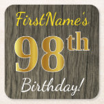 [ Thumbnail: Faux Wood, Faux Gold 98th Birthday + Custom Name Paper Coaster ]