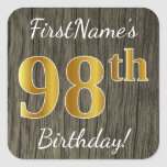[ Thumbnail: Faux Wood, Faux Gold 98th Birthday + Custom Name Sticker ]