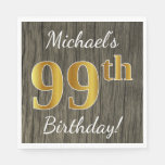 [ Thumbnail: Faux Wood, Faux Gold 99th Birthday + Custom Name Napkin ]