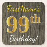 [ Thumbnail: Faux Wood, Faux Gold 99th Birthday + Custom Name Paper Coaster ]