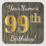 [ Thumbnail: Faux Wood, Faux Gold 99th Birthday + Custom Name Sticker ]