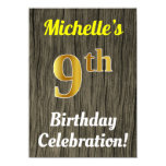 [ Thumbnail: Faux Wood, Faux Gold 9th Birthday Celebration Invitation ]