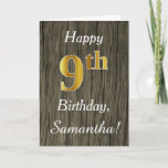 [ Thumbnail: Faux Wood, Faux Gold 9th Birthday + Custom Name Card ]