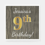 [ Thumbnail: Faux Wood, Faux Gold 9th Birthday + Custom Name Paper Napkin ]