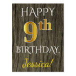 [ Thumbnail: Faux Wood, Faux Gold 9th Birthday + Custom Name Postcard ]