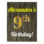 [ Thumbnail: Faux Wood, Faux Gold 9th Birthday & Custom Name Postcard ]