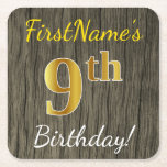 [ Thumbnail: Faux Wood, Faux Gold 9th Birthday + Custom Name Paper Coaster ]