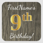 [ Thumbnail: Faux Wood, Faux Gold 9th Birthday + Custom Name Sticker ]