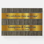 [ Thumbnail: Faux Wood & Faux Gold Marriage Guest Book ]
