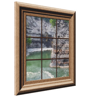 Faux Wood Framed Window Genesee River Gorge Canvas Gallery Wrapped Canvas