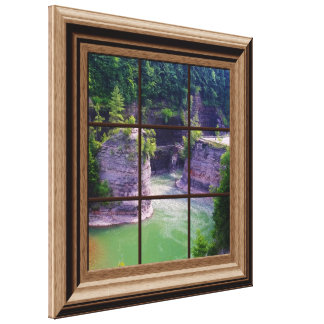 Faux Wood Framed Window Genesee River Gorge Canvas