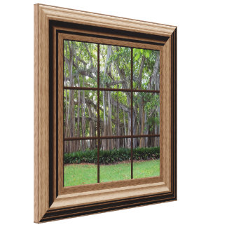 Faux Wood Framed Window View of Trees Canvas Art