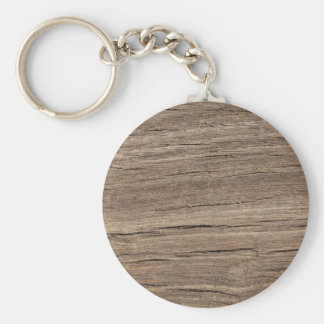 Faux Wood Grain Basic Round Button Keychain