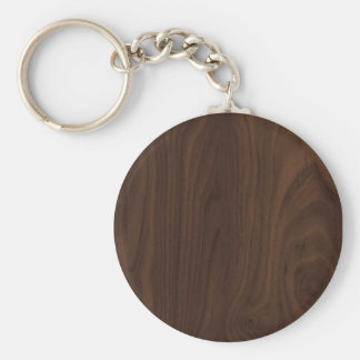 faux Wood Grain Keychain Basic Round Button Keychain