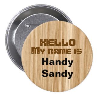 Faux Wood Grain Nametag Personalized Pin Template